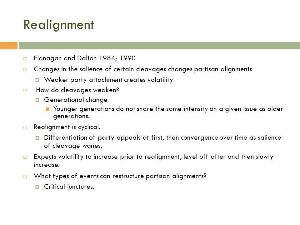 Realignment Flanagan and Dalton 1984; 1990