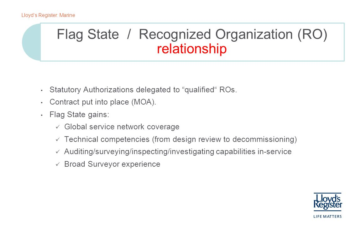 Flag State / Recognized Organization (RO) relationship