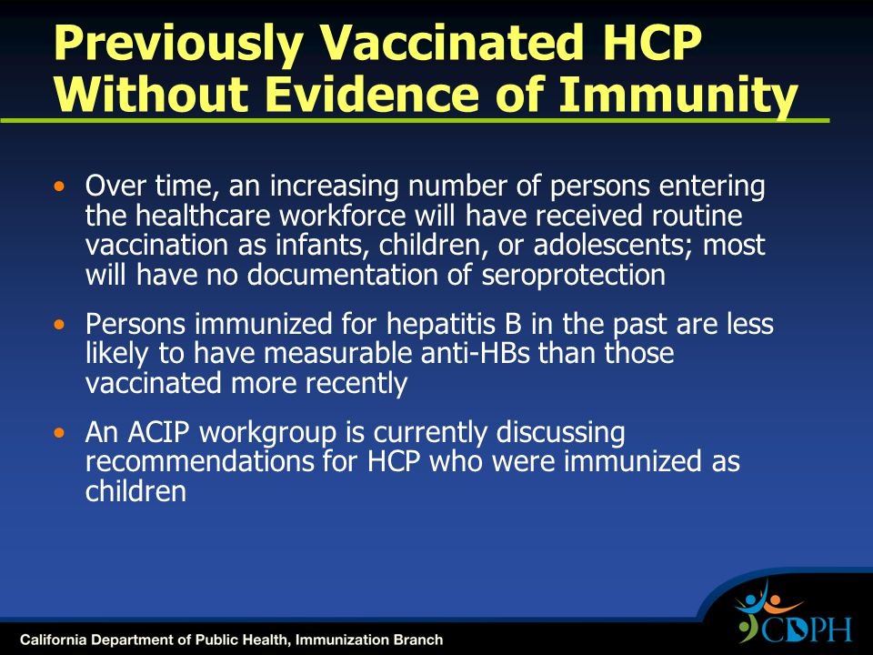 Previously Vaccinated HCP Without Evidence of Immunity