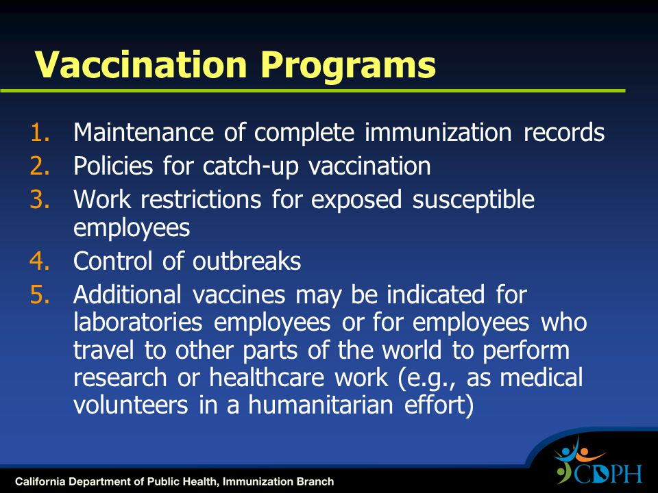 Vaccination Programs Maintenance of complete immunization records