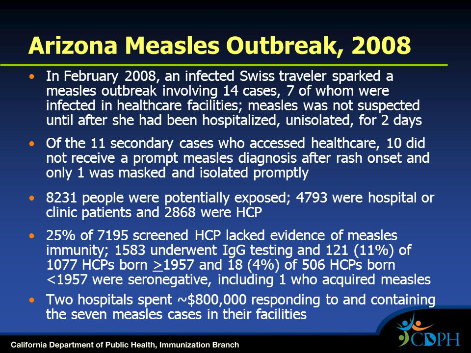 Arizona Measles Outbreak, 2008