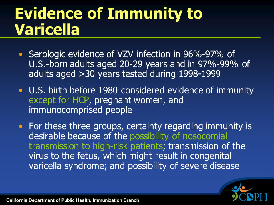 Evidence of Immunity to Varicella