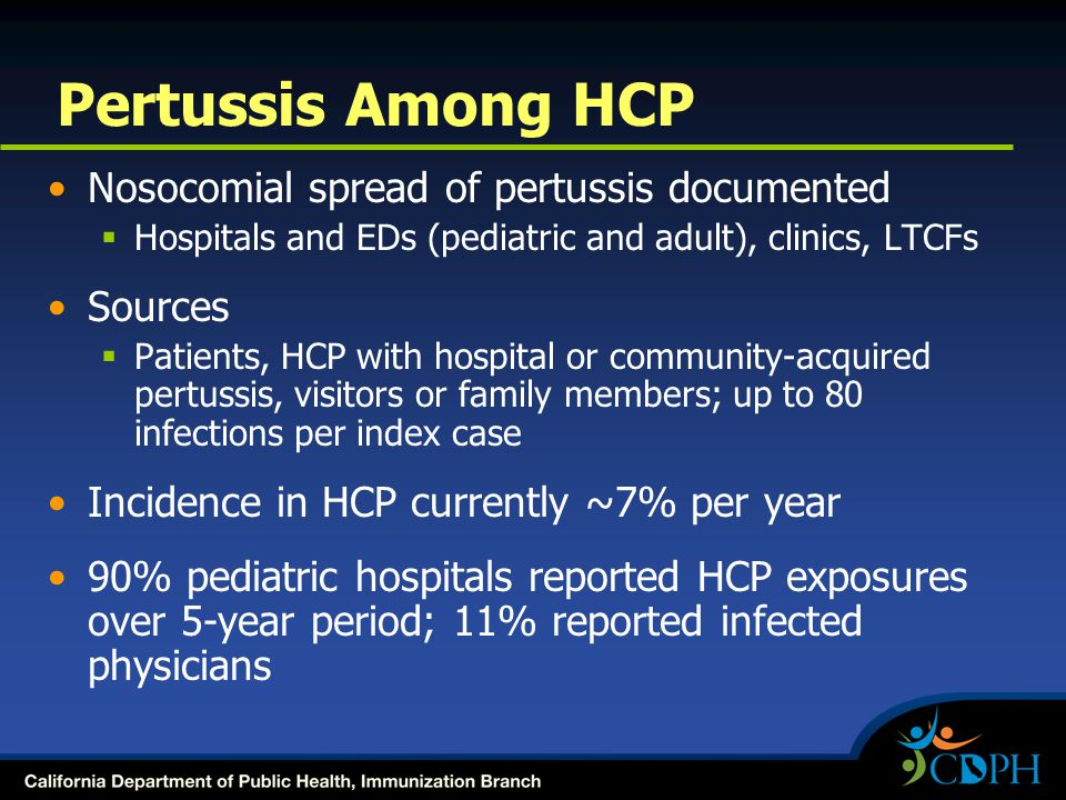 Pertussis Among HCP Nosocomial spread of pertussis documented Sources
