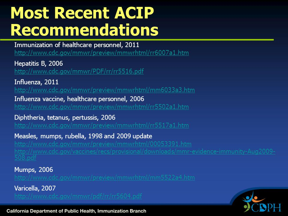 Most Recent ACIP Recommendations