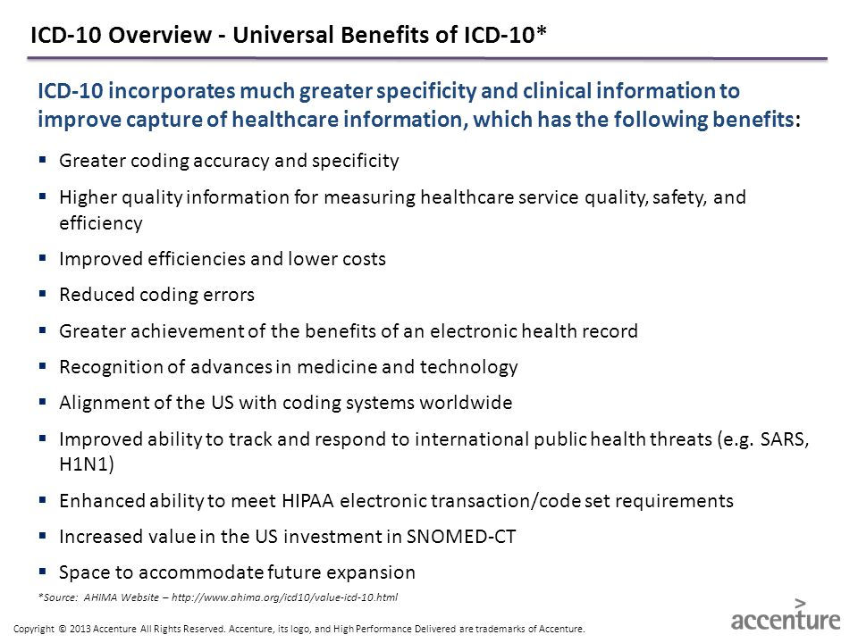 ICD-10 Overview - Universal Benefits of ICD-10*