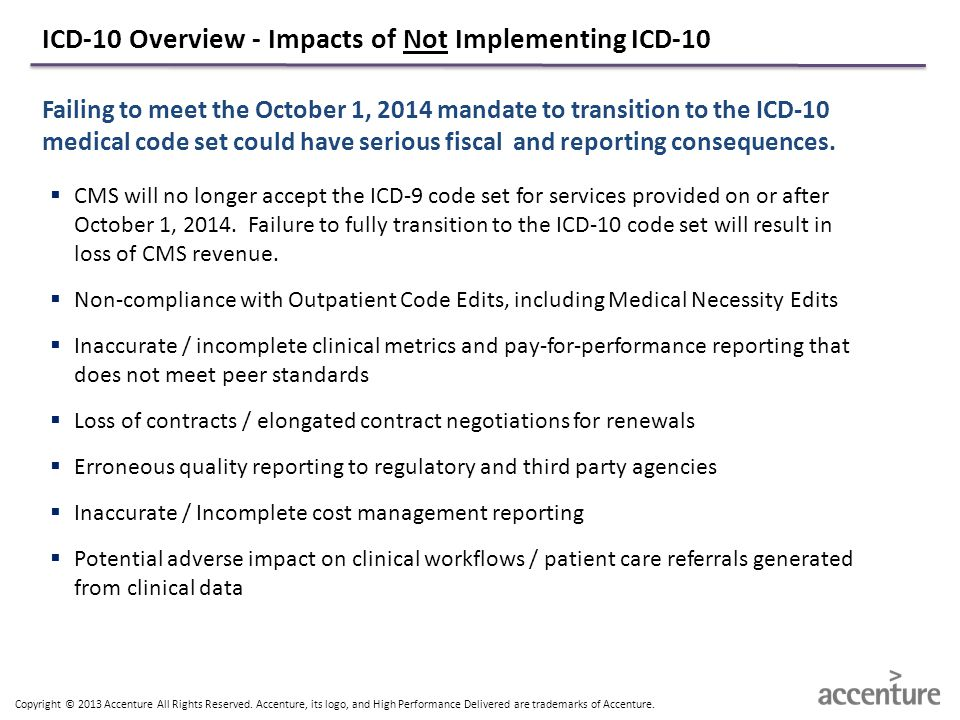 ICD-10 Overview - Impacts of Not Implementing ICD-10
