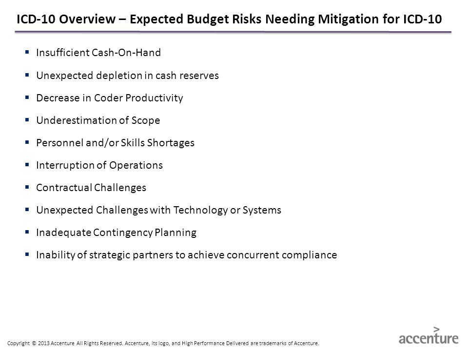 ICD-10 Overview – Expected Budget Risks Needing Mitigation for ICD-10