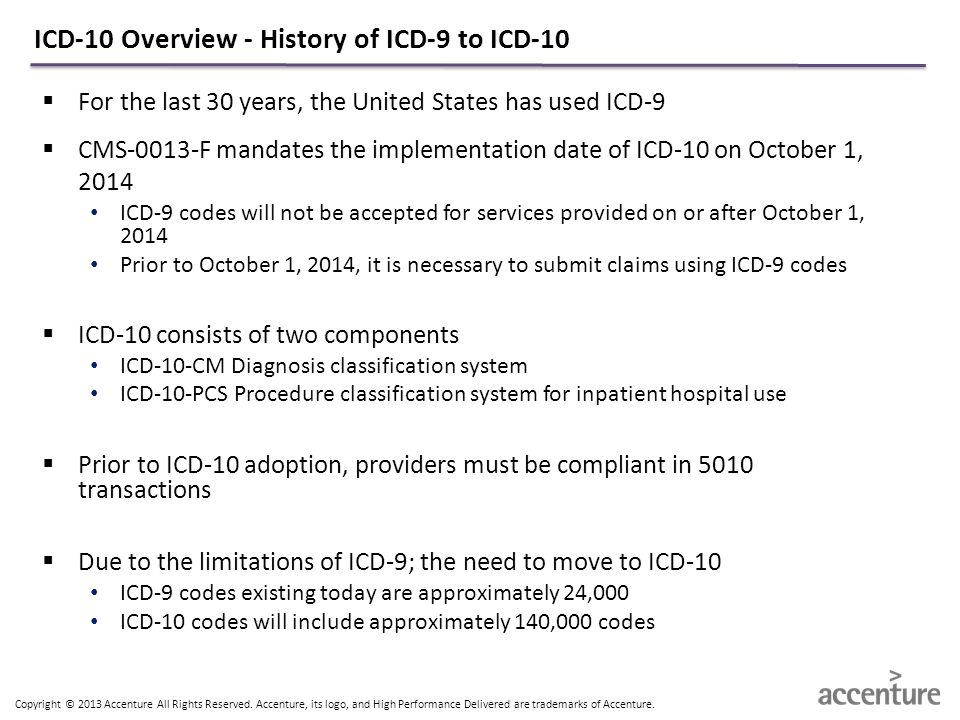 ICD-10 Overview - History of ICD-9 to ICD-10