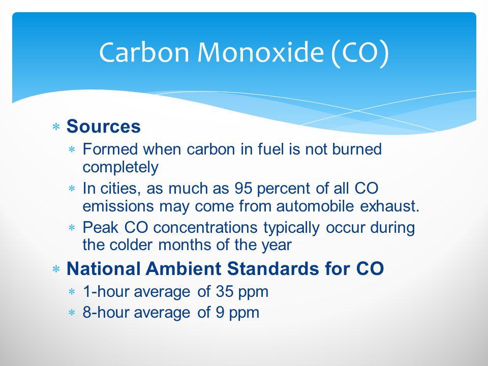 Carbon Monoxide (CO) Sources National Ambient Standards for CO