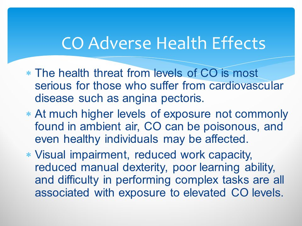 CO Adverse Health Effects
