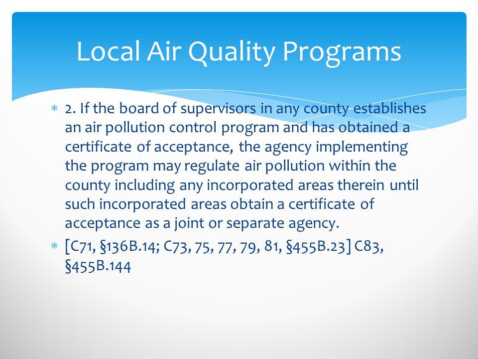 Local Air Quality Programs