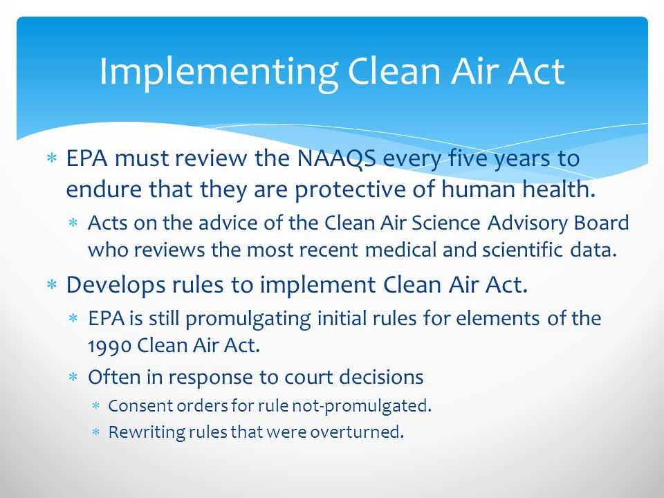 Implementing Clean Air Act