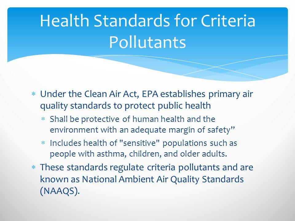 Health Standards for Criteria Pollutants