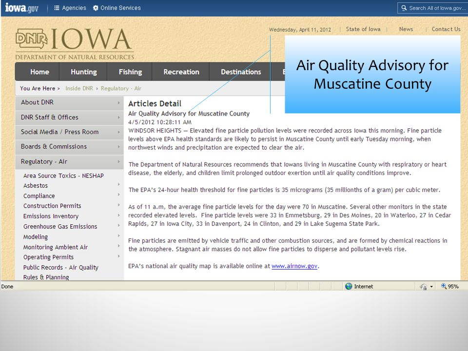 Air Quality Advisory for Muscatine County