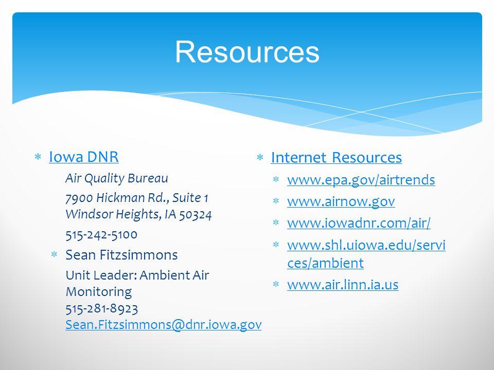Resources Iowa DNR Internet Resources www.epa.gov/airtrends