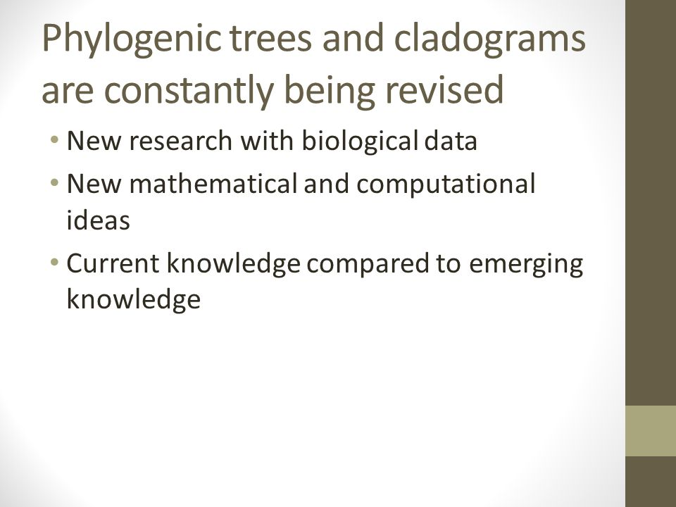 Phylogenic trees and cladograms are constantly being revised