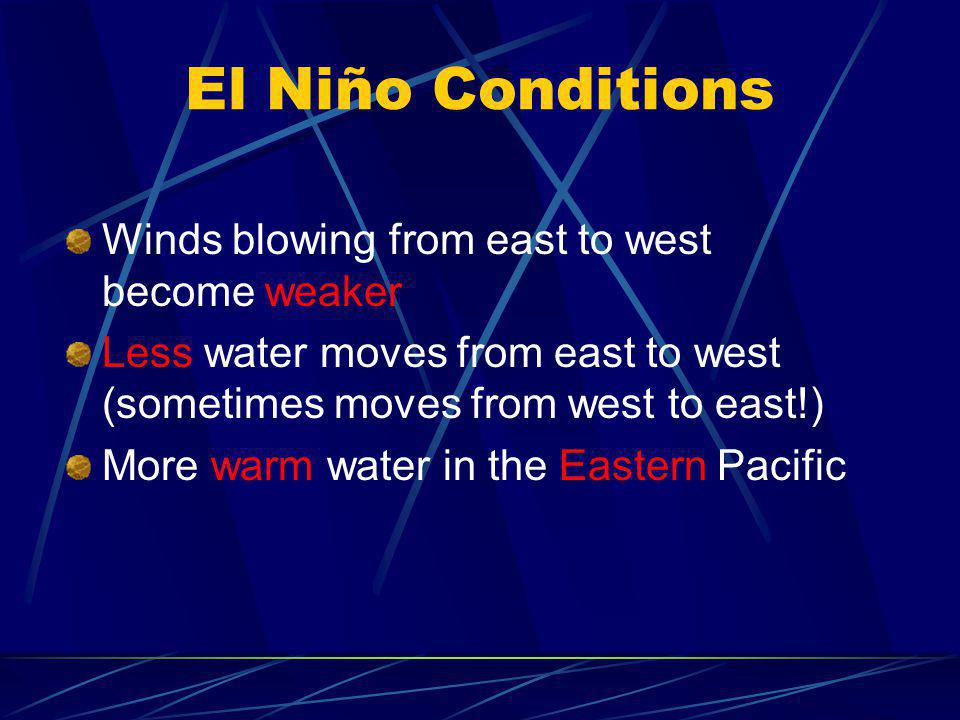 El Niño Conditions Winds blowing from east to west become weaker