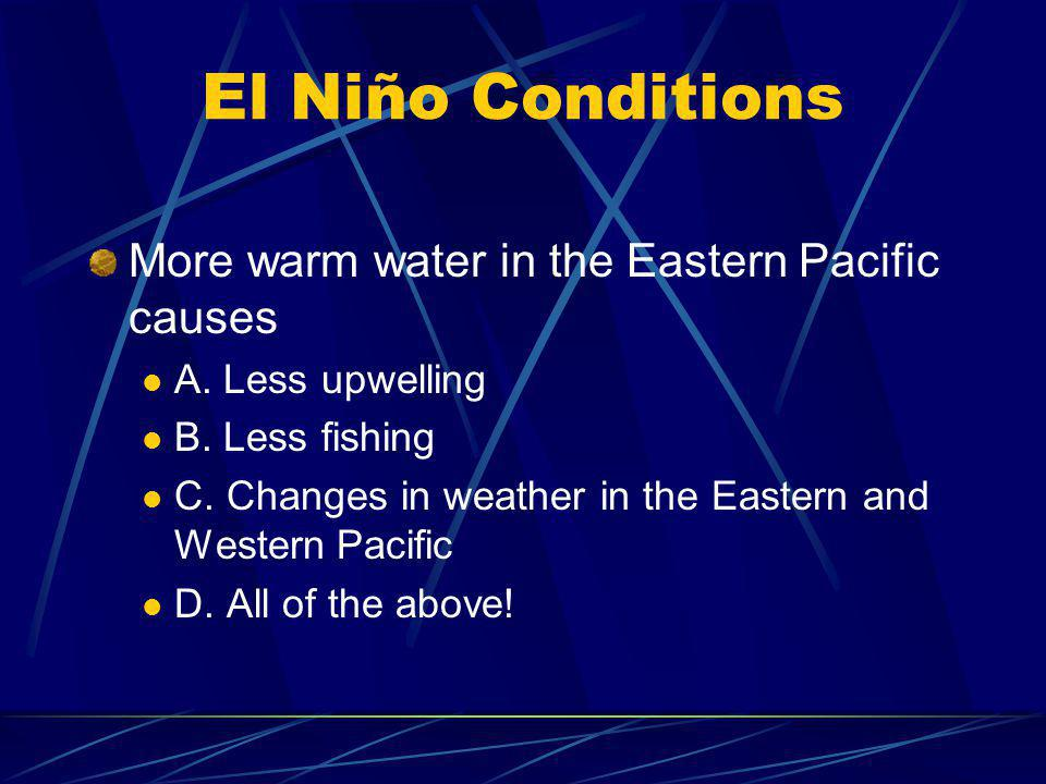 El Niño Conditions More warm water in the Eastern Pacific causes