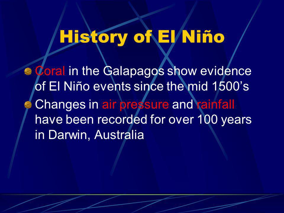 History of El Niño Coral in the Galapagos show evidence of El Niño events since the mid 1500's.