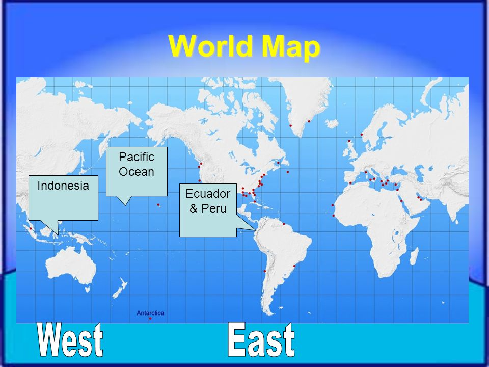World Map Pacific Ocean Indonesia Ecuador & Peru West East