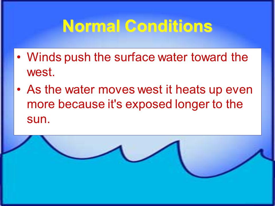 Normal Conditions Winds push the surface water toward the west.