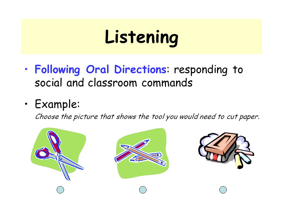 Listening Following Oral Directions: responding to social and classroom commands. Example:
