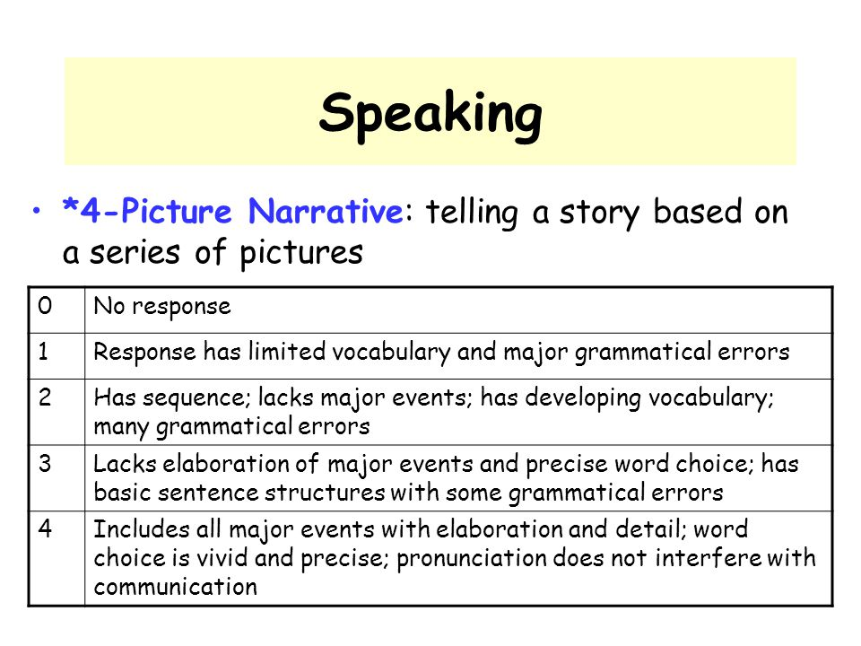 Speaking *4-Picture Narrative: telling a story based on a series of pictures. No response. 1.