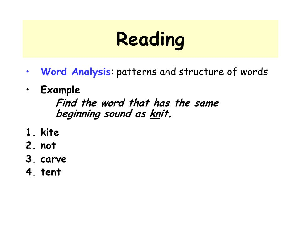 Reading Word Analysis: patterns and structure of words Example