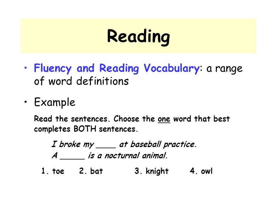 Reading Fluency and Reading Vocabulary: a range of word definitions