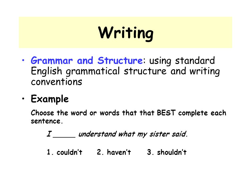 Writing Grammar and Structure: using standard English grammatical structure and writing conventions.