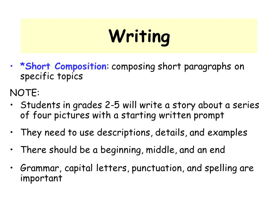 Writing *Short Composition: composing short paragraphs on specific topics. NOTE:
