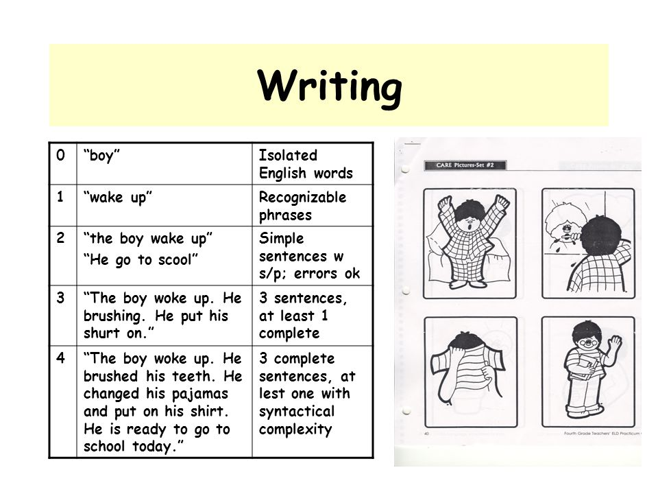 Writing boy Isolated English words 1 wake up Recognizable phrases