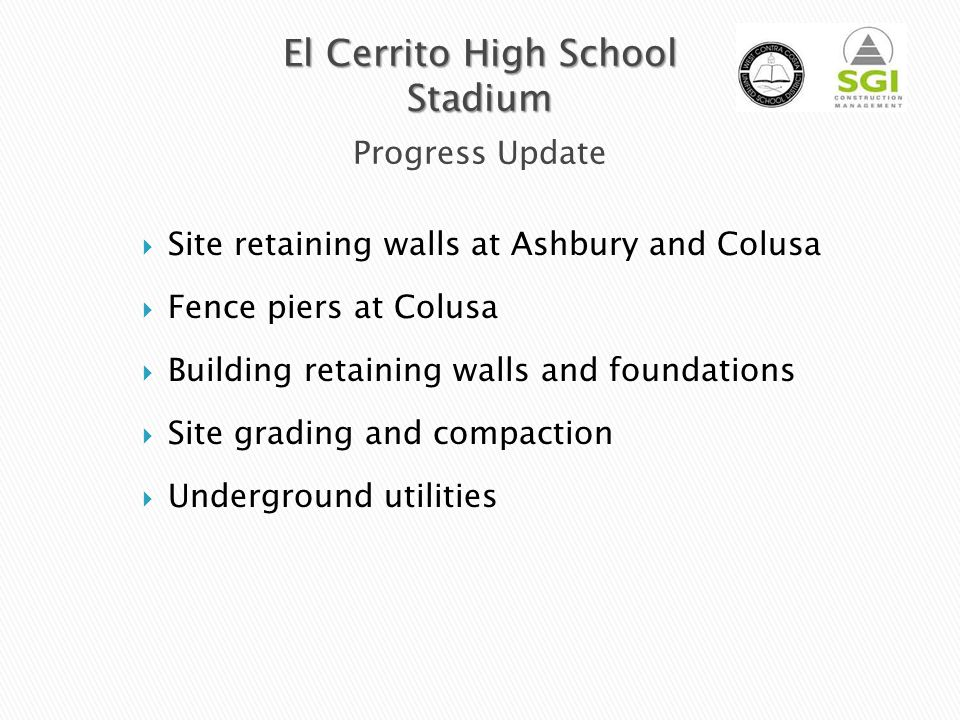 El Cerrito High School Stadium Progress Update
