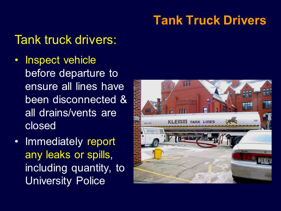 Tank Truck Drivers Tank truck drivers: