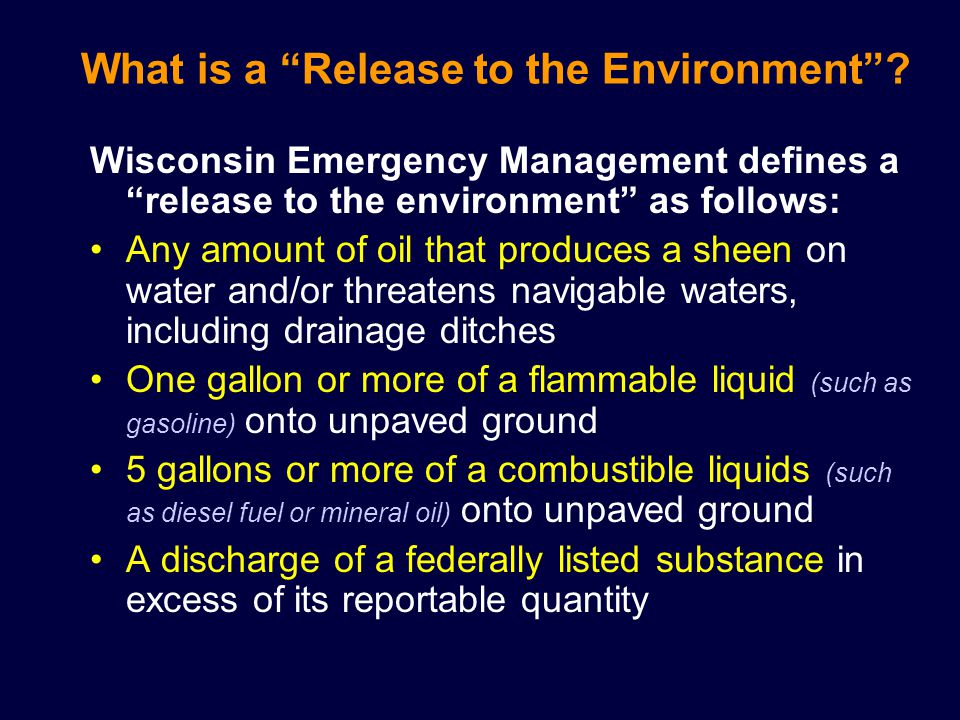 What is a Release to the Environment