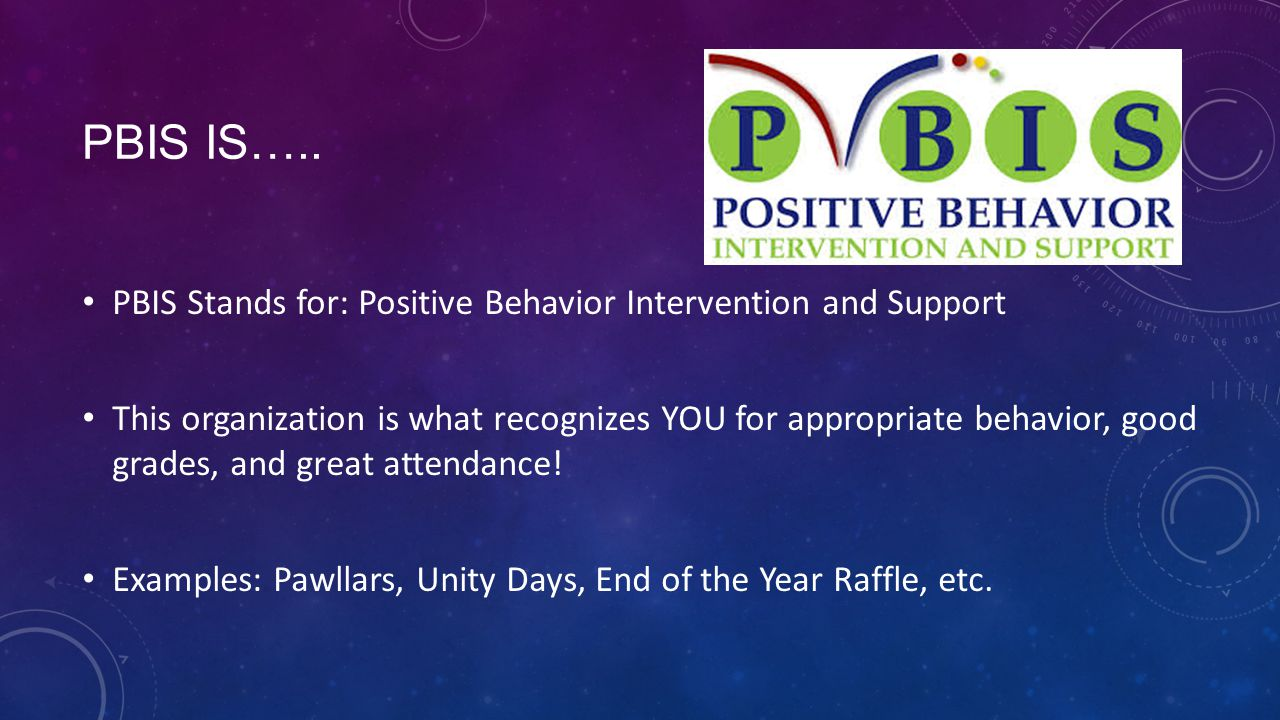 PBIS is….. PBIS Stands for: Positive Behavior Intervention and Support