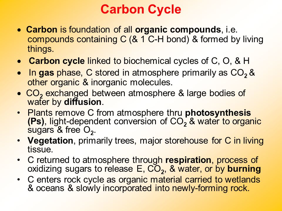Carbon Cycle · Carbon is foundation of all organic compounds, i.e. compounds containing C (& 1 C-H bond) & formed by living things.