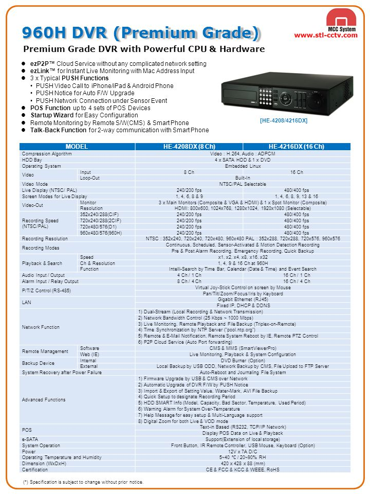 960H DVR (Premium Grade) Premium Grade DVR with Powerful CPU & Hardware. ezP2P™ Cloud Service without any complicated network setting.