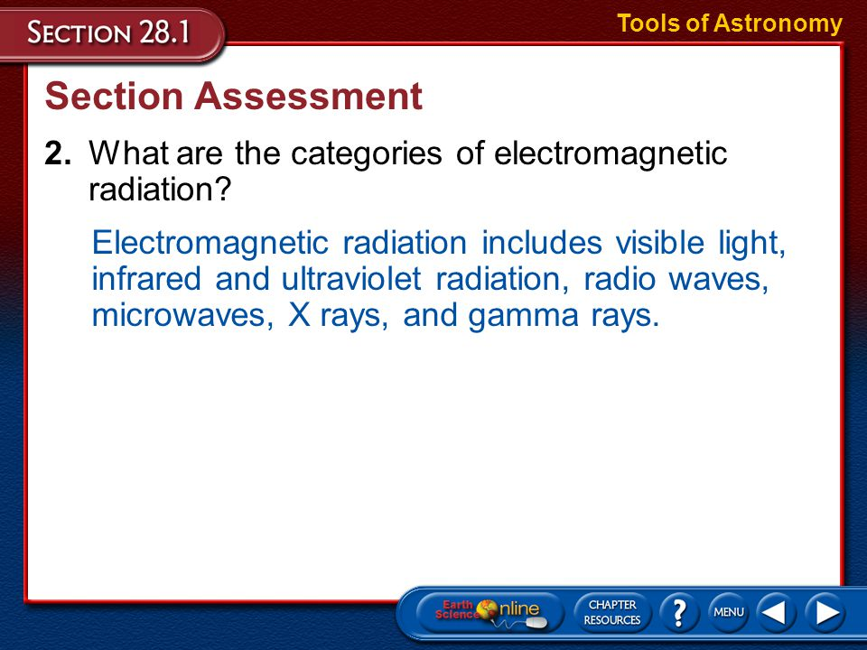 Tools of Astronomy Section Assessment. 2. What are the categories of electromagnetic radiation