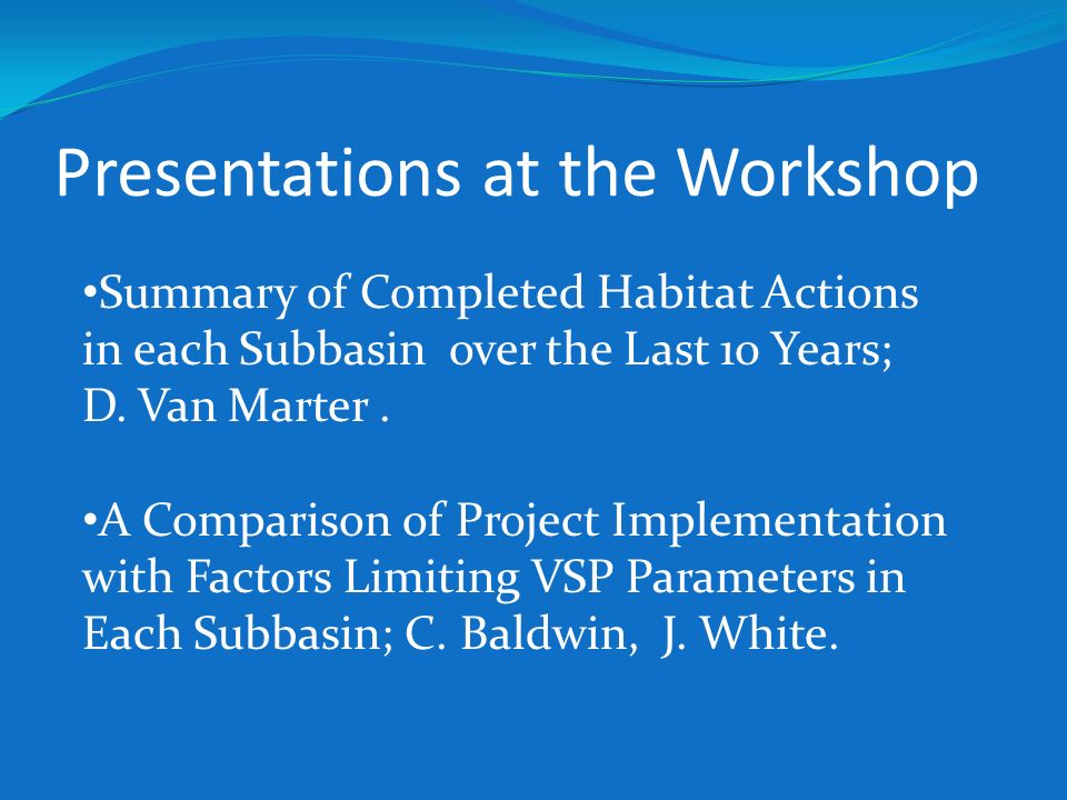 Presentations at the Workshop