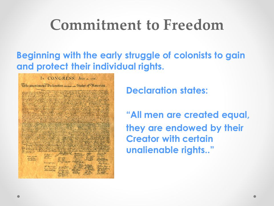 Commitment to Freedom