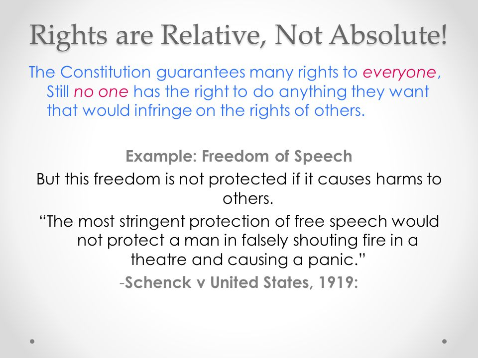 Rights are Relative, Not Absolute!