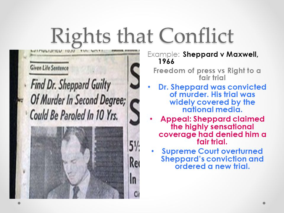 Freedom of press vs Right to a fair trial