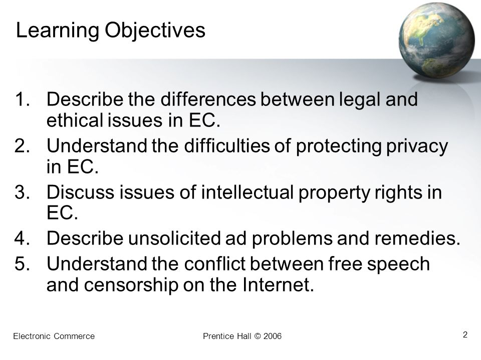Learning Objectives Describe the differences between legal and ethical issues in EC. Understand the difficulties of protecting privacy in EC.