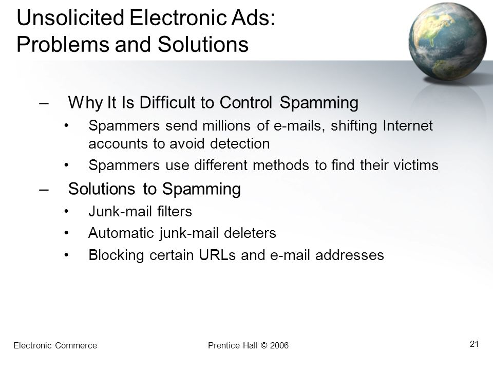 Unsolicited Electronic Ads: Problems and Solutions