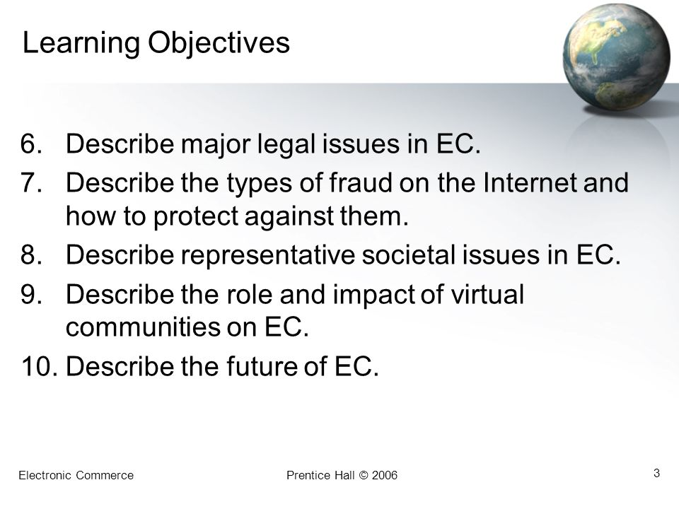 Learning Objectives Describe major legal issues in EC.