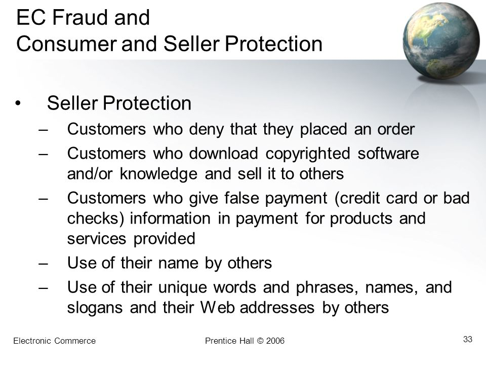 EC Fraud and Consumer and Seller Protection