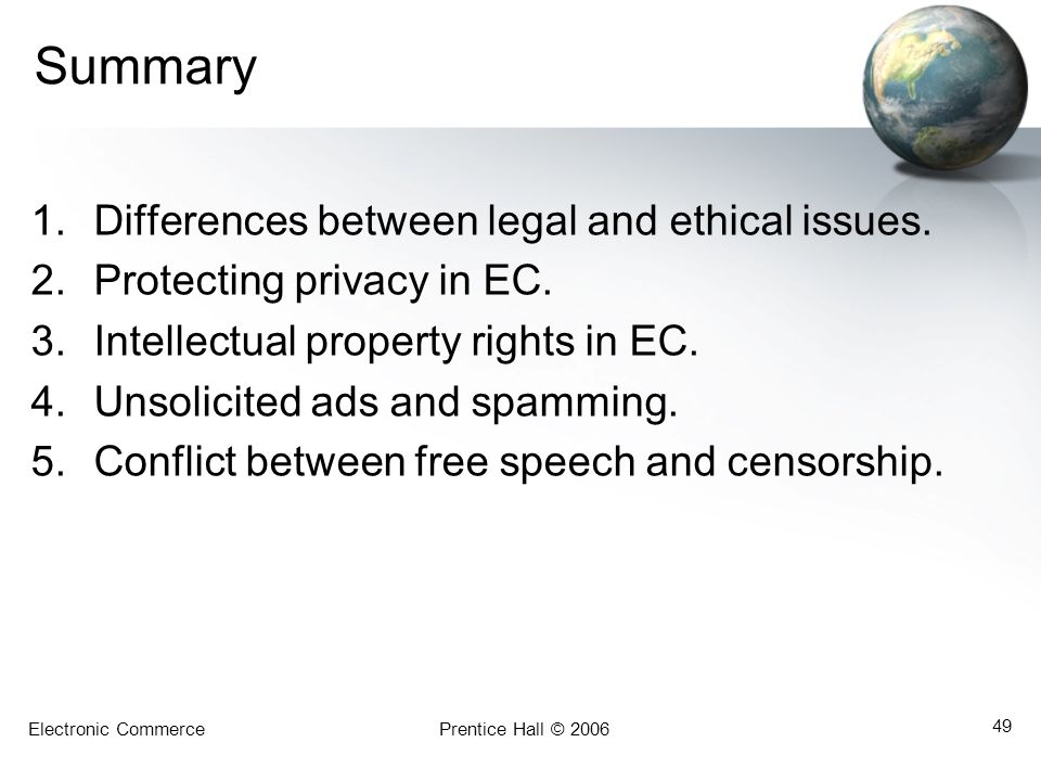 Summary Differences between legal and ethical issues.