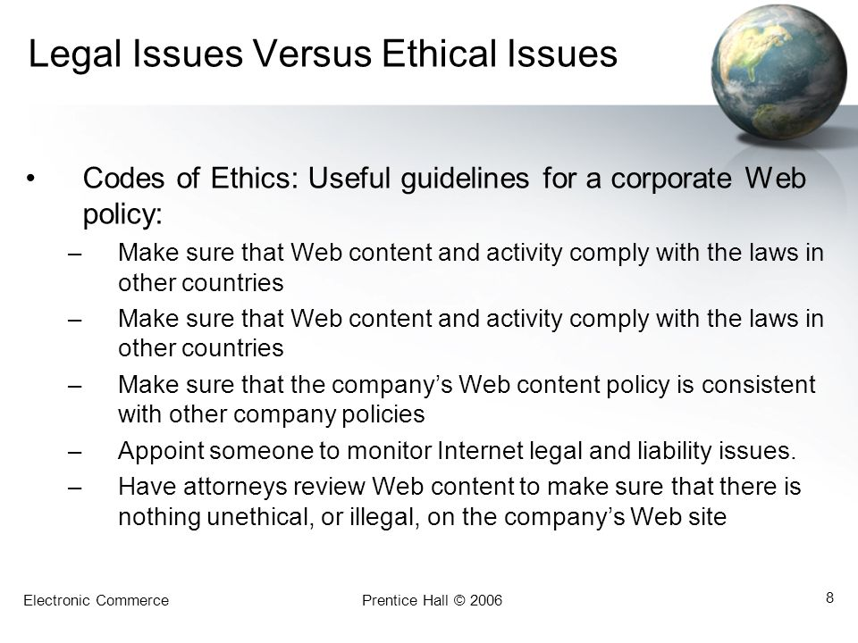Legal Issues Versus Ethical Issues
