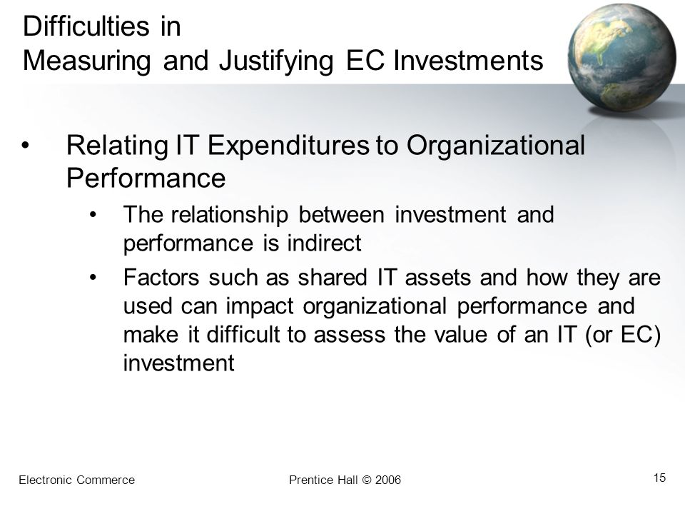 Difficulties in Measuring and Justifying EC Investments